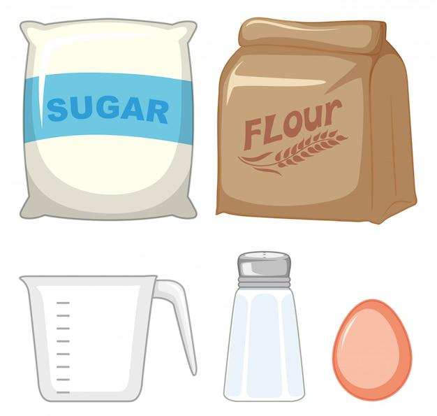 Set backzutaten mit zucker und mehl Kostenlosen Vektoren