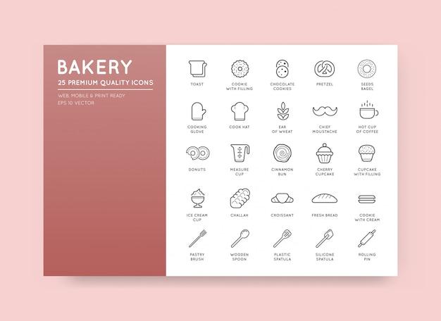 Set bäckerei gebäck elemente und brot icons illustration kann als logo oder icon in premium-qualität verwendet werden Premium Vektoren
