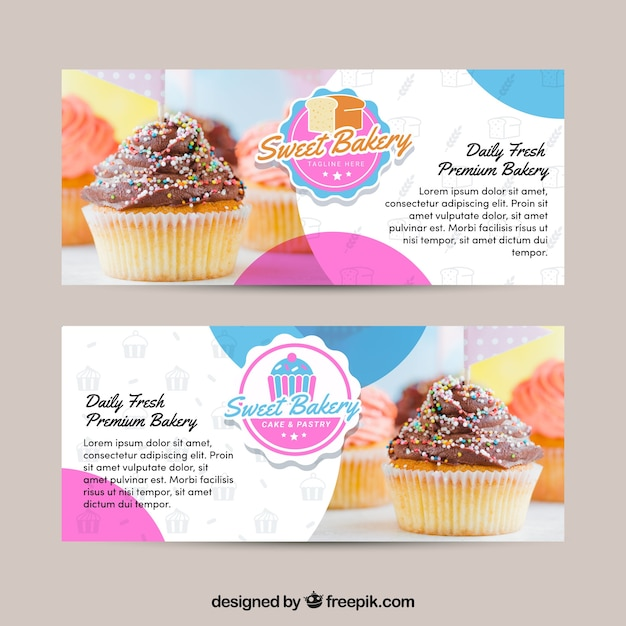 Set bäckereifahnen mit bonbons Kostenlosen Vektoren