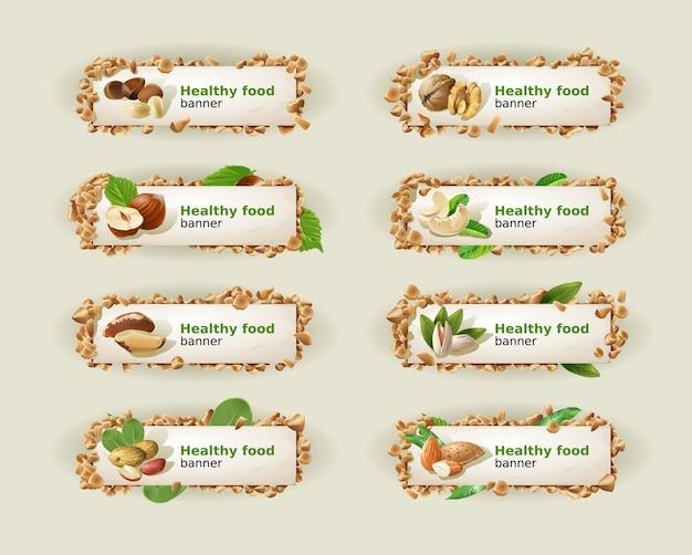 Set banner mit verschiedenen arten von nüssen. Kostenlosen Vektoren
