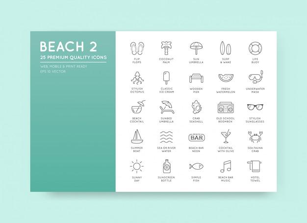Set beach sea bar elements und summer können als logo oder icon in premium-qualität verwendet werden Premium Vektoren