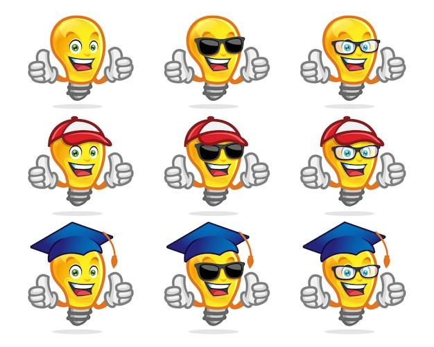 Set birne zeichen, maskottchen. vervollkommnen sie für schule oder ein anderes bildungslogo. lampenmaskottchen. Premium Vektoren