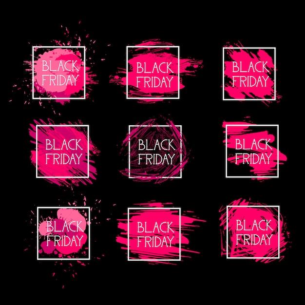 Set black friday-ikonen-feiertagsverkaufs-logos Premium Vektoren
