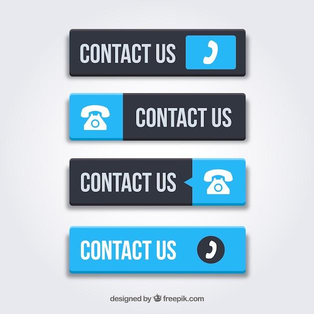 Set blaue kontaktknöpfe Kostenlosen Vektoren