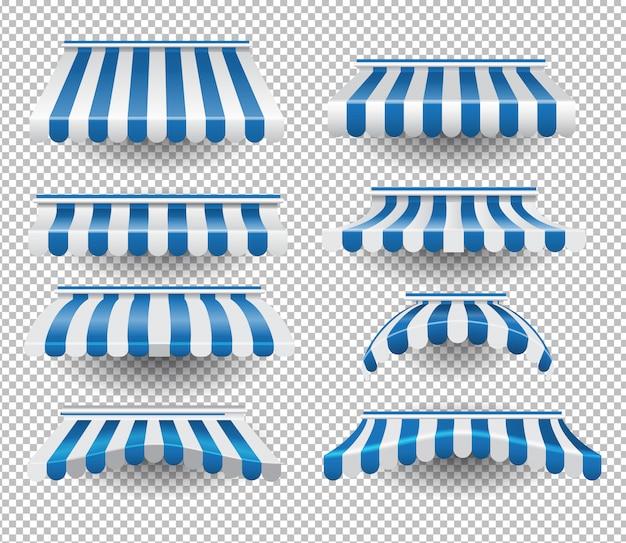 Set blaue markisen Premium Vektoren