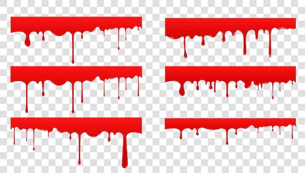 Set blut verbreiten. rote flüssigkeit tropfen und spritzen. farbe tropft und fließt Premium Vektoren