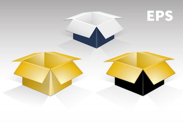 Set boxen in verschiedenen farben Premium Vektoren
