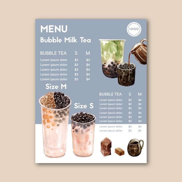Set brauner zucker blase milchtee und matcha-menü, ad content vintage, aquarell illustration Kostenlosen Vektoren