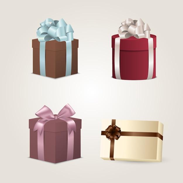Set bunte geschenkkästen mit bögen und farbbändern Premium Vektoren