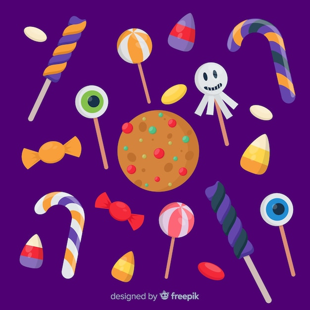 Set bunte halloween-süßigkeiten für kinder Kostenlosen Vektoren