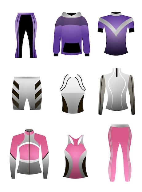 Set bunte professionelle sportkleidung für laufen oder indoor-training Premium Vektoren