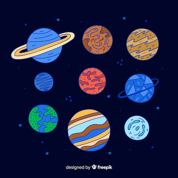 Set bunte sonnensystemplaneten Kostenlosen Vektoren