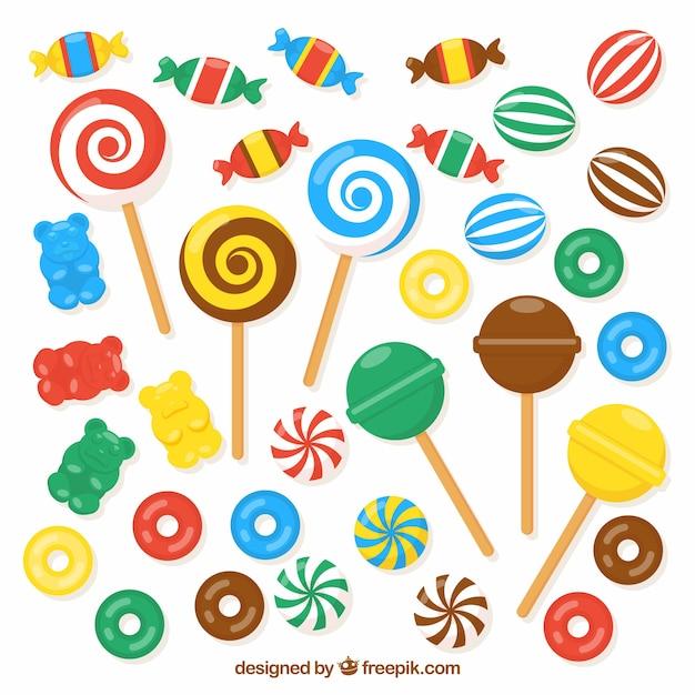 Set bunte süßigkeiten in der flachen art Kostenlosen Vektoren