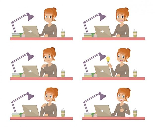 Set business-frau am schreibtisch arbeitet an der laptop-computer Premium Vektoren