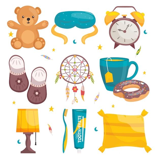 Set cartoon gesunde schlafausrüstung. teddybär, maske, wecker, hausschuhe, schlaffänger, teetasse mit donut, lampe, zahnpasta und bürste, kissen. Premium Vektoren