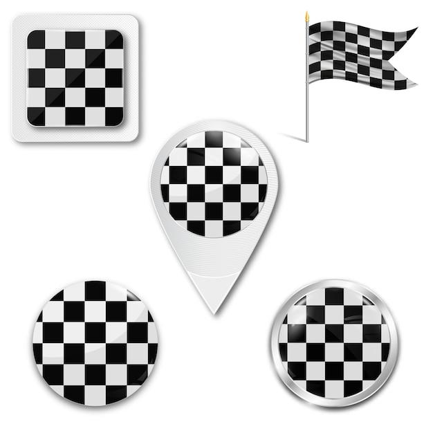 Set checkered markierungsfahnenikonen für das laufen Premium Vektoren