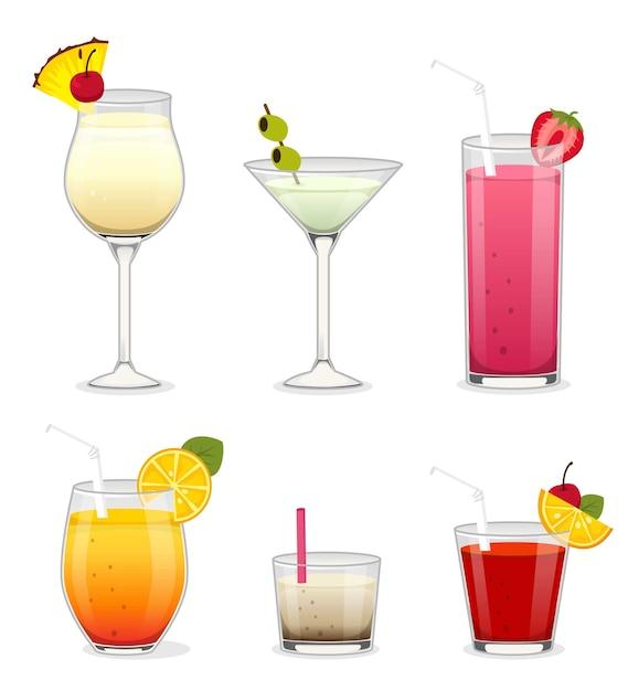 Set coctails mit alkohol und früchten Premium Vektoren