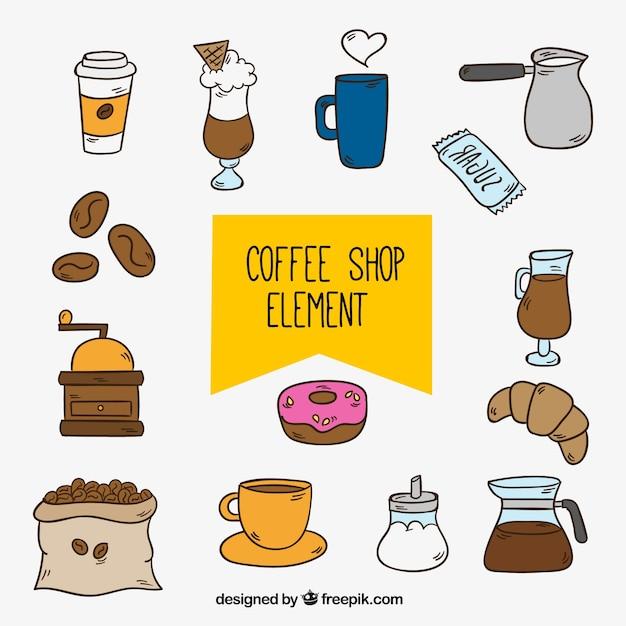 Set coffee-shop hand gezeichnete objekte Kostenlosen Vektoren