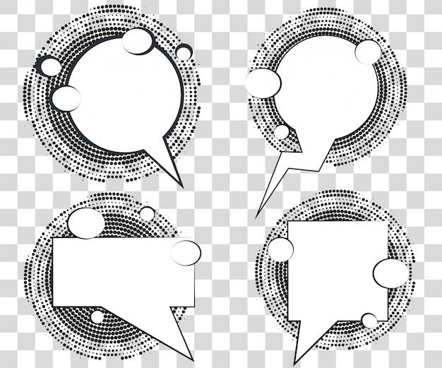 Set comic sprechblasen mit halbton-dreiecken schatten. Premium Vektoren