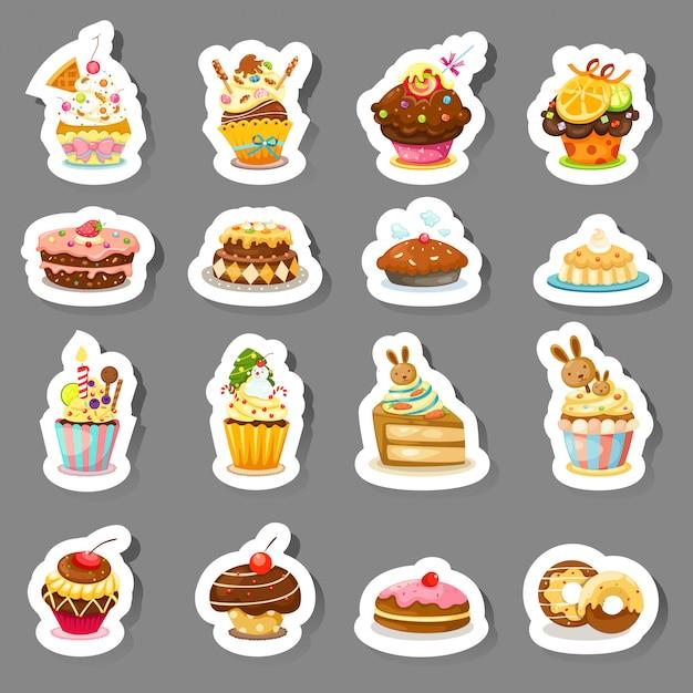 Set cupcake-symbole Premium Vektoren
