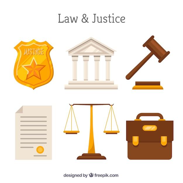 Set de elementos de derecho y justicia Kostenlosen Vektoren
