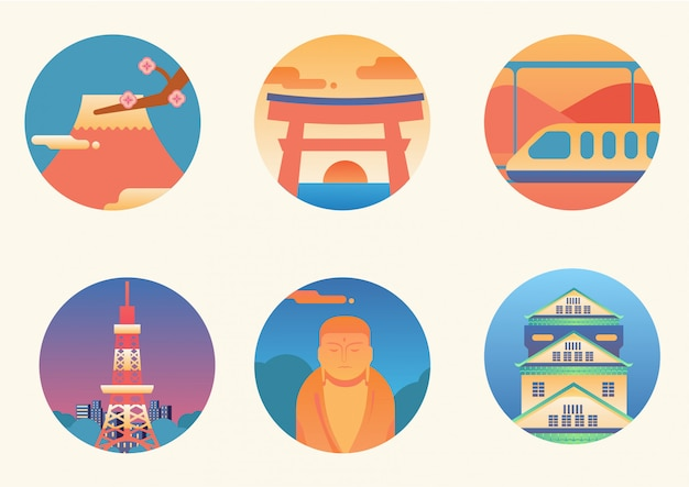 Set der denkwürdigsten ikone japans Premium Vektoren