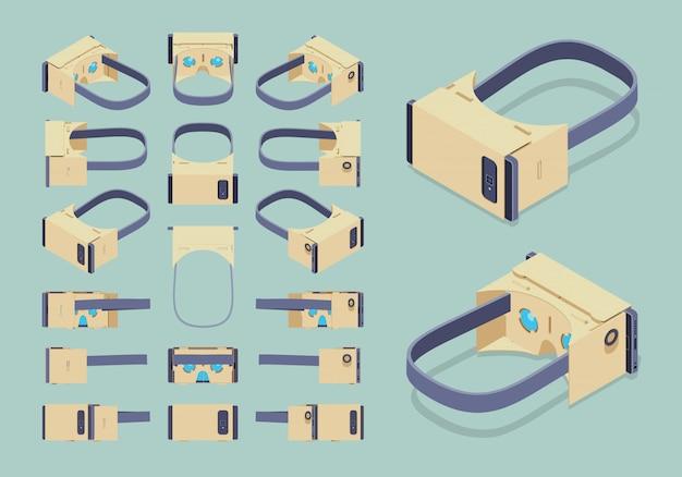 Set der isometrischen kopfhörer der virtuellen realität aus pappe Premium Vektoren