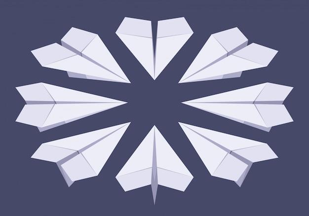 Set der isometrischen weißbuchebenen Premium Vektoren