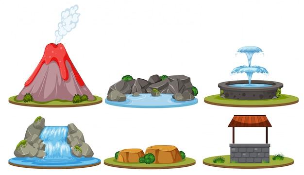 Set der lokalisierten naturdekoration Premium Vektoren
