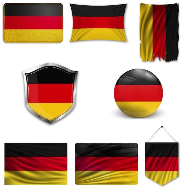 Set der nationalflagge deutschlands Premium Vektoren