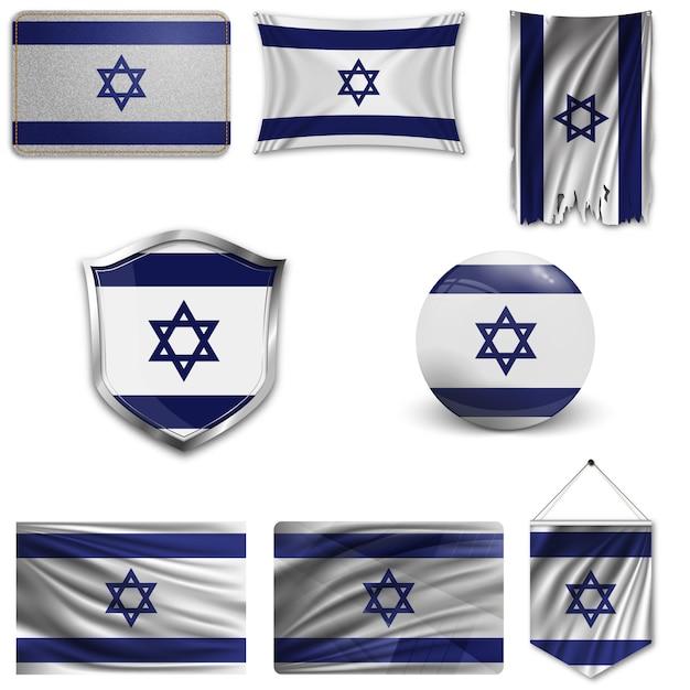 Set der nationalflagge von israel Premium Vektoren