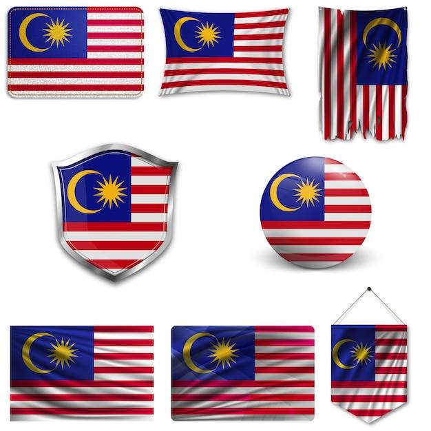 Set der nationalflagge von malaysia Premium Vektoren