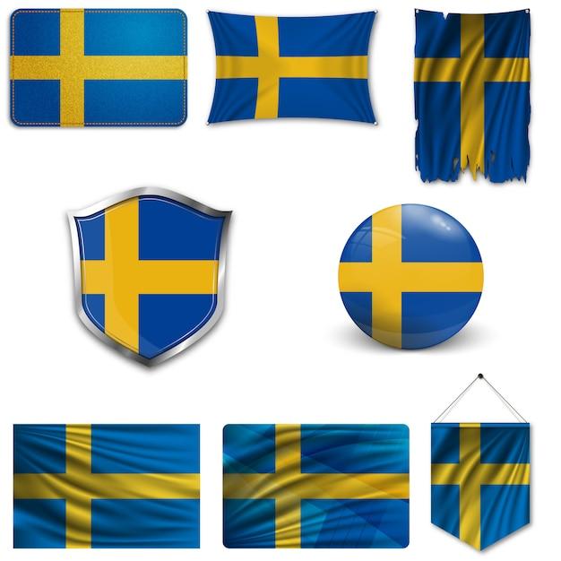 Set der nationalflagge von schweden Premium Vektoren