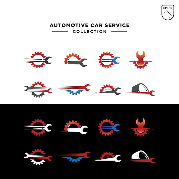 Set des automobilauto-service-logos Premium Vektoren