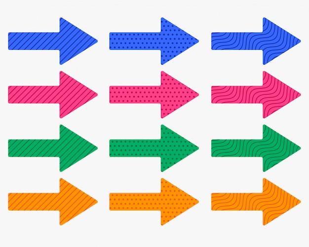 Set dicke pfeile in verschiedenen farben und mustern Kostenlosen Vektoren