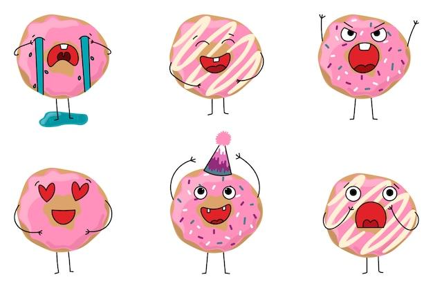 Set donuts mit verschiedenen emotionen Premium Vektoren