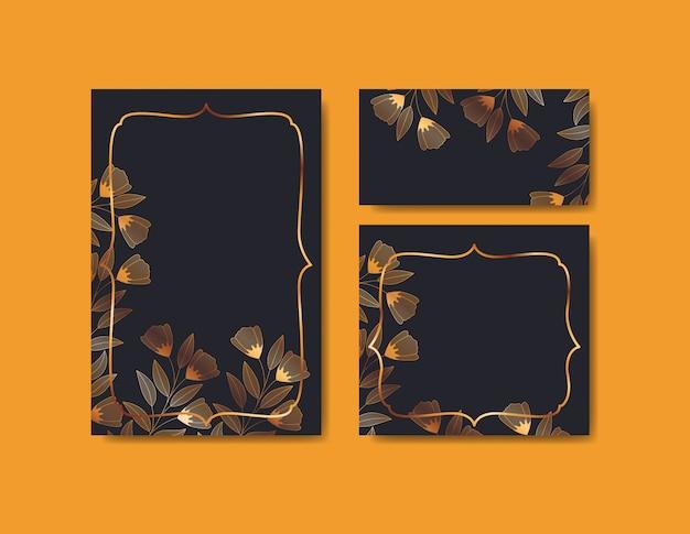 Set einladungskarten mit blumenschmuck Kostenlosen Vektoren