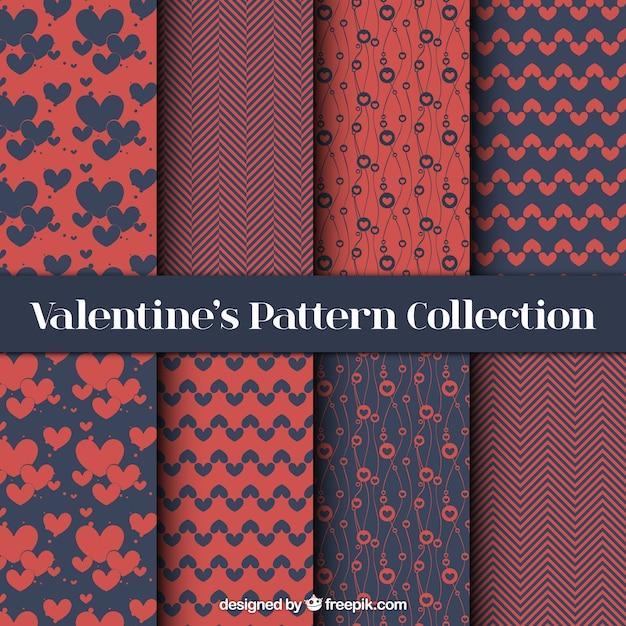 Set elegante abstrakt valentin muster Kostenlosen Vektoren