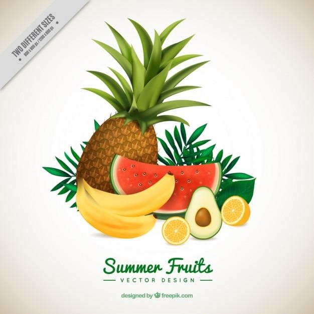 Set erfrischende früchte Kostenlosen Vektoren