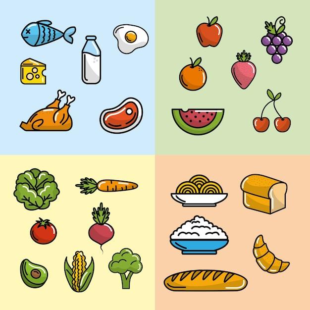 Set ernährung gemüse und früchte mit eiweiß und mehl Premium Vektoren