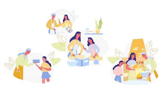 Set familie lernt nützliche kochkünste cartoon. Premium Vektoren