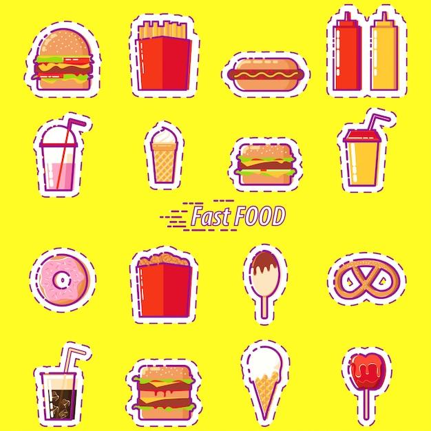 Set fast food: burger, soda, eis, donut Premium Vektoren