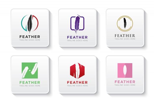Set feder-logo und symbol Premium Vektoren