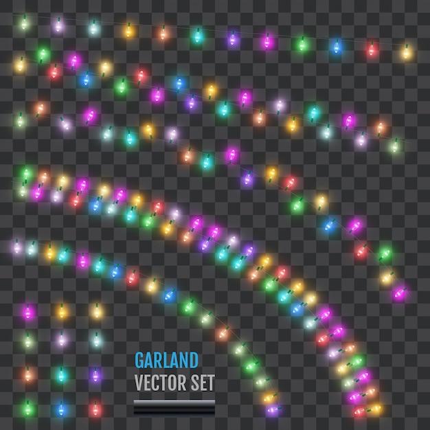 Set feiertagsgirlanden mit farbigen lampen. Premium Vektoren