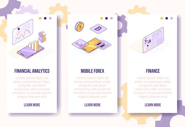 Set-finanzielle analytik des isometrischen konzeptes des entwurfes digital, vertikale fahnenschablone des mobilen app-schirmes der devisen Premium Vektoren