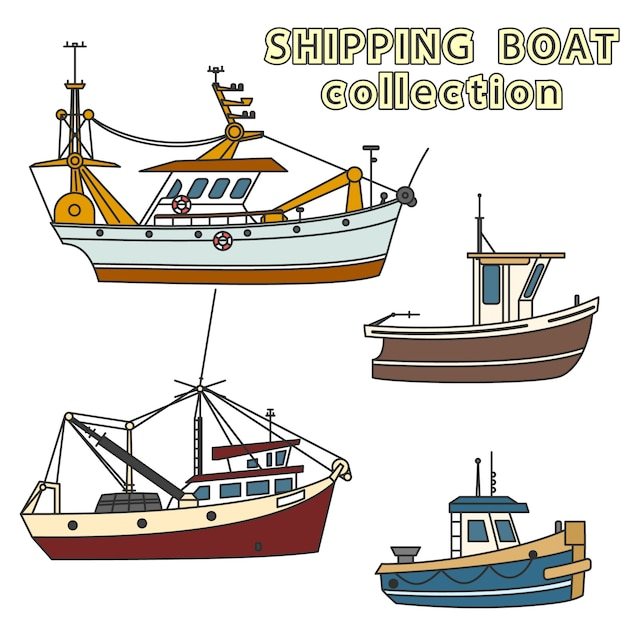 Set fischereifahrzeug im meer Premium Vektoren