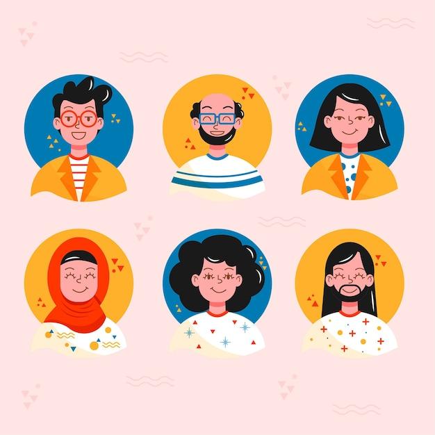 Set flache avatare von menschen Kostenlosen Vektoren