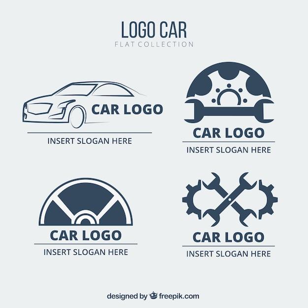 Set Flachwagen Logos Kostenlose Vektoren
