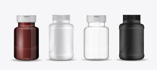 Set flaschen für pillen Premium Vektoren