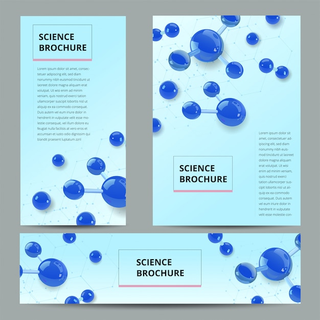 Set flyer, broschüre größe a4 vorlage, banner. molekülstruktur mit realistischen glaskugeln. Premium Vektoren
